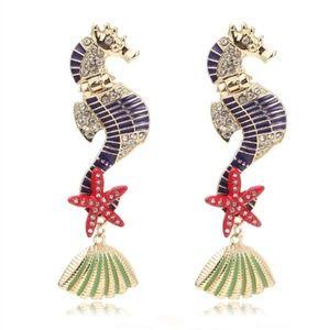 "SEAHORSES colorful 2"" earrings"